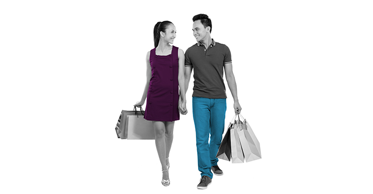 turistas asiáticos de compras