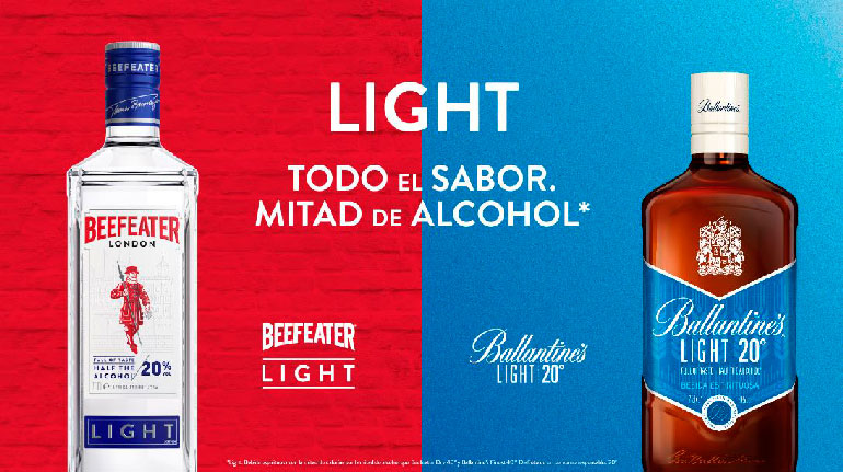 Beefeater y Ballantine´s Light, las bebidas con mitad de alcohol para el
