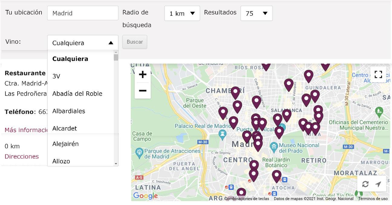 Buscadorderestaurantes.com es, primer mapa digital que identifica y geolocaliza los restaurantes en función de los vinos que ofrecen