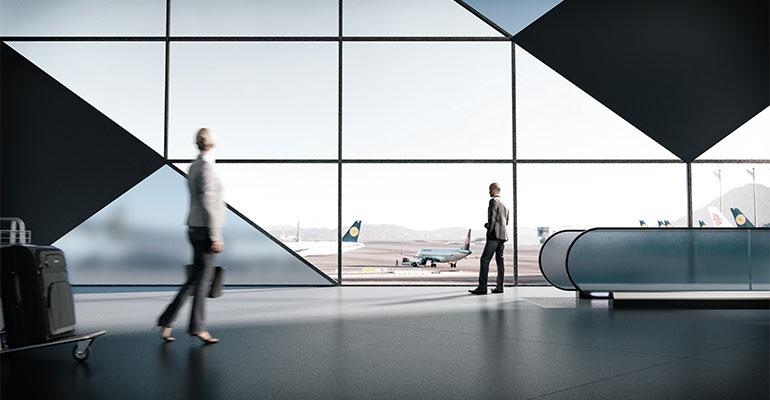 Dekton Chromica Baltic en aeropuerto