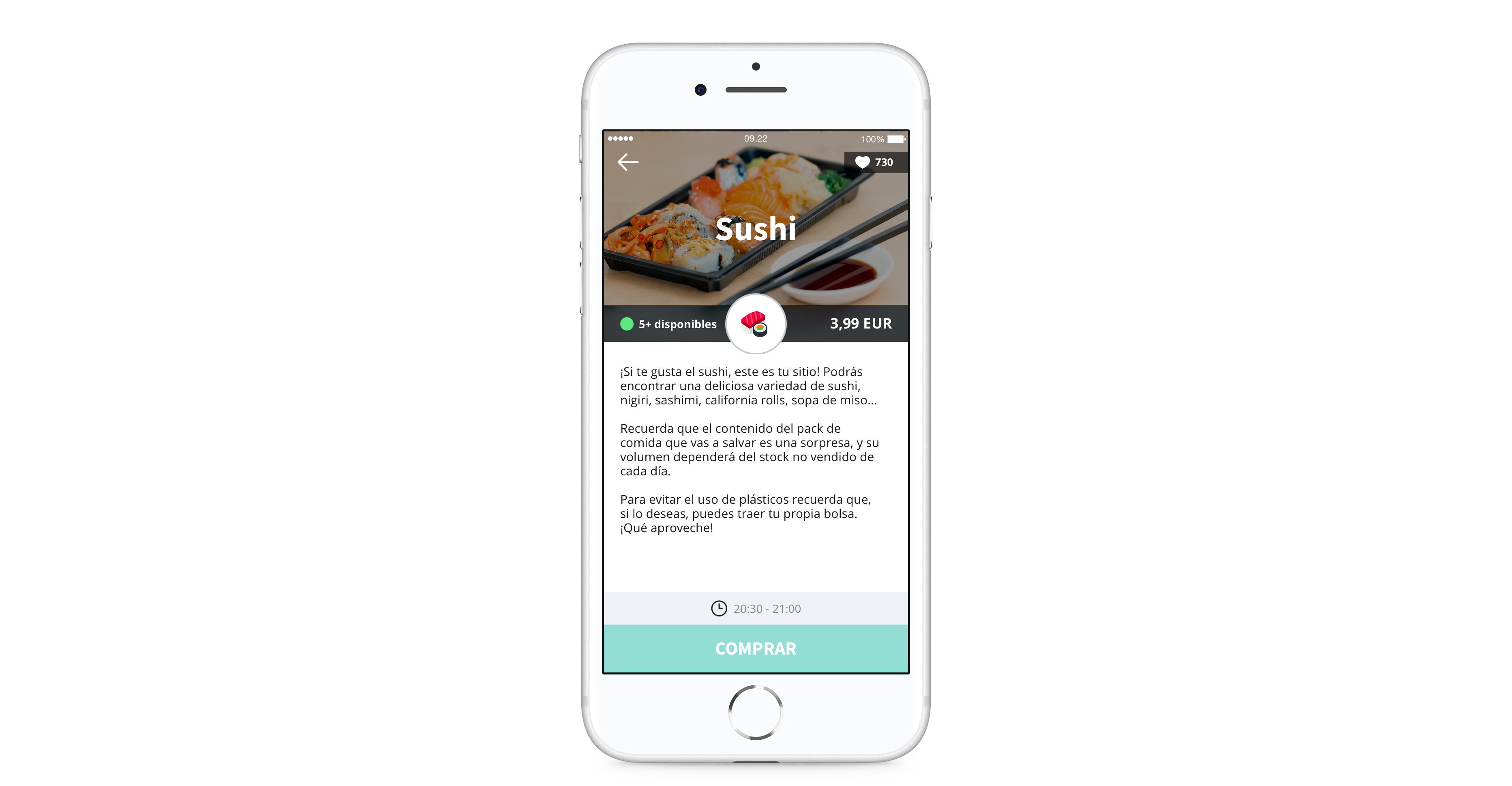 Vista de establecimiento en la app
