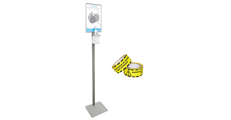 Totem para gel hidroalcohólico y cintas para indicar la distancia de seguridad