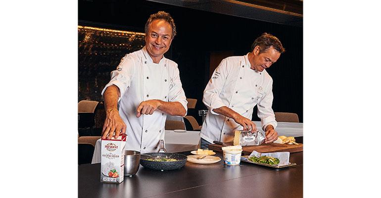 Los hermanos Torres cocinando con los productos de Président Profesional