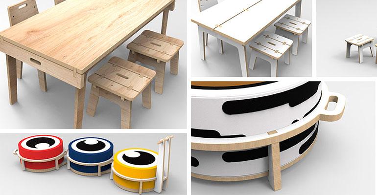 Muebles infantiles de aspecto natural y moderno