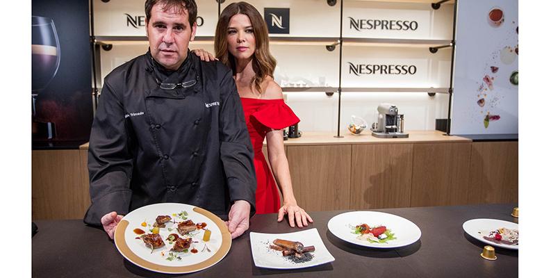 Juana Acosta y Rubén Trincado en el restaurante efímero Aterlier Nespresso