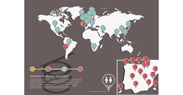 Mapamundi con los países donde se pueden realizar las prácticas