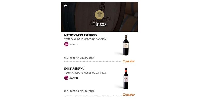 Matarromera desarrolla las cartas de vinos digitales de sus clientes