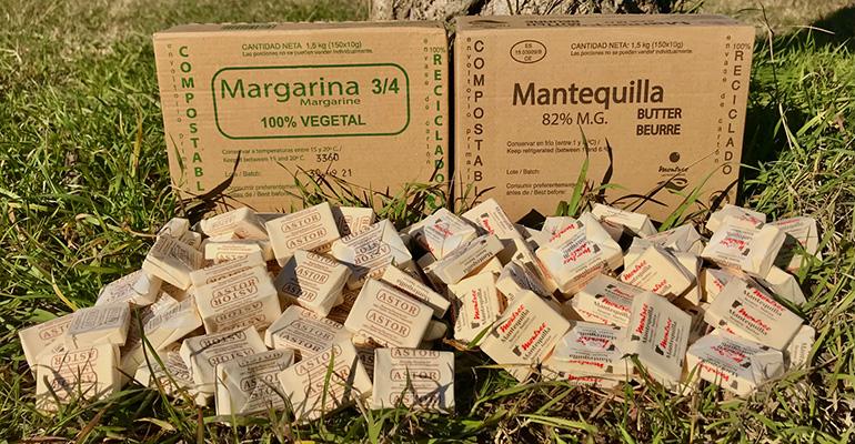 Margarina y mantequilla en formato individual sostenible