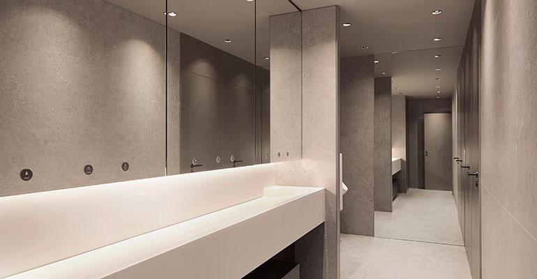 Mueble compacto con grifo, dosificador de jabón y secamanos incorporados
