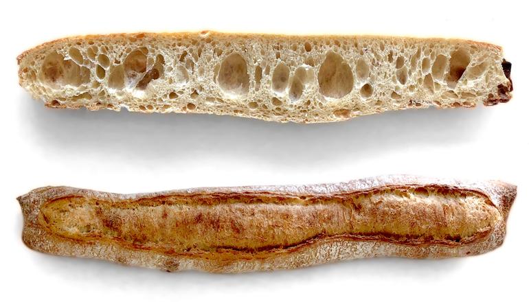 Baguette con 24 horas de fermentación, alta hidratación y larga conservación