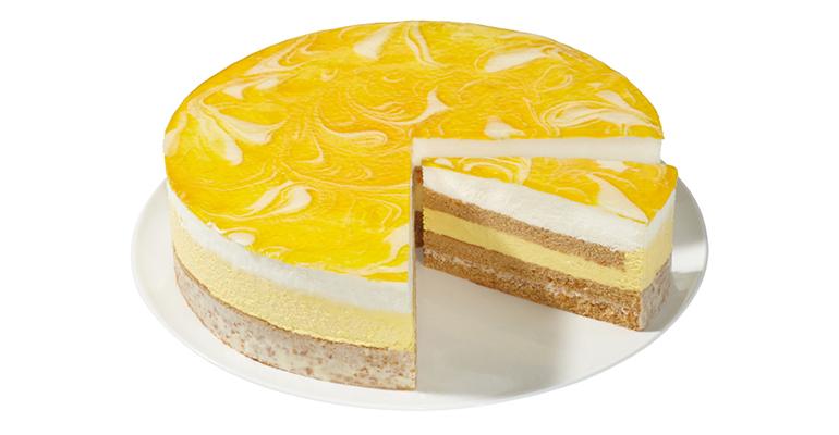 Pastel Crujiente de Yogur y Mango