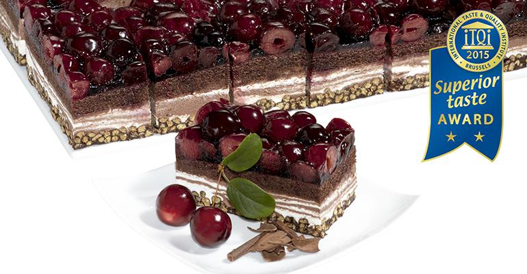 plancha tarta de cereza y choco crips de erlenbacher