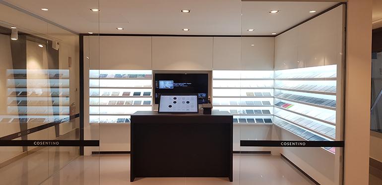 Sala interactiva de muestras en el showroom de Cosentino