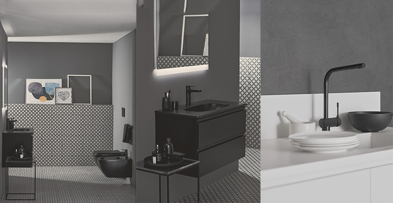 Nuevo acabado negro seda en griferías, cerámicas y muebles para dar sofisticación a los aseos públicos