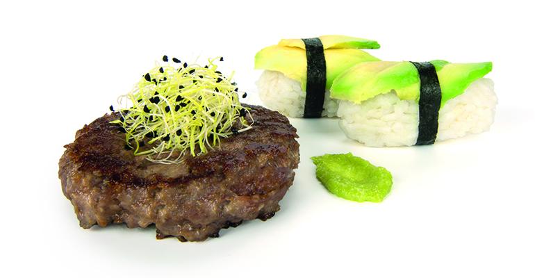 Hamburguesa japonesa con wasabi y salsa de soja