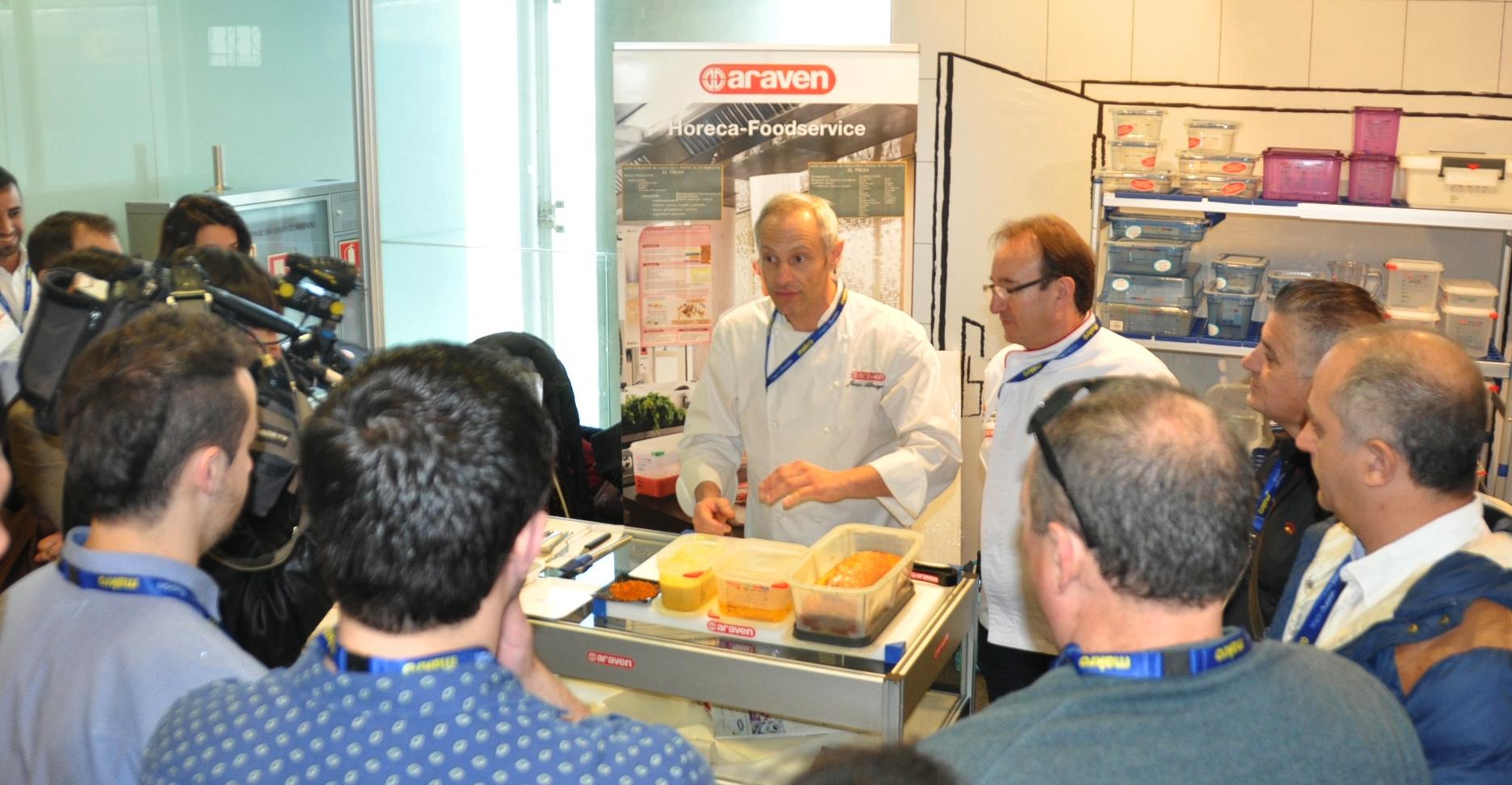 Demostración del chef Jesus Almagro en el stand de Araven durante la pasada edición de Madrid Fusión
