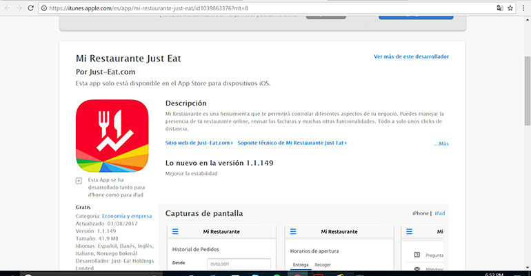 App mi restaurante de Just Eat