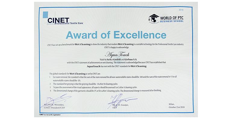 Certificado cinet excelencia Girbau