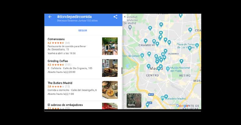 Mapa de restaurantes con servicios delivery y take away
