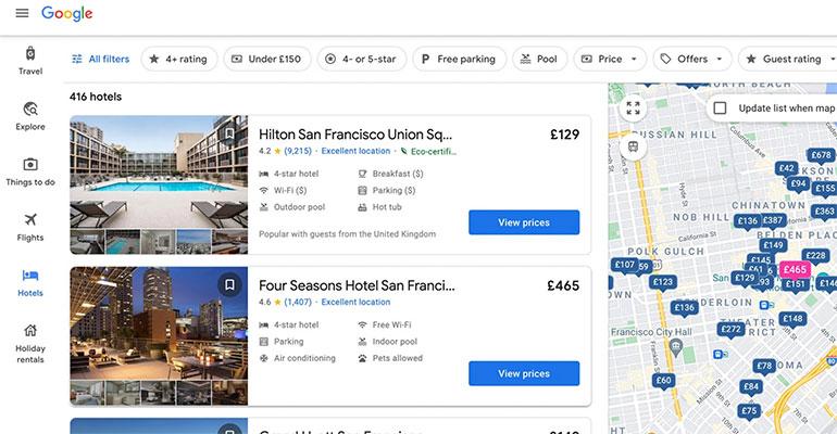 Google posicionamiento hoteles