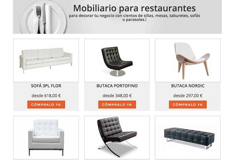 Venta de mobiliario online para hostelería