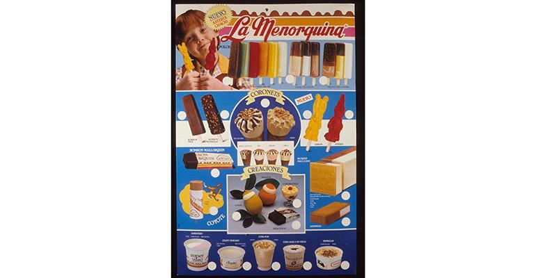 cartel antiguo helados la menorquina