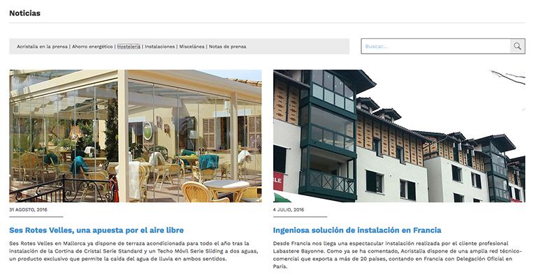 web de acristalia proyectos