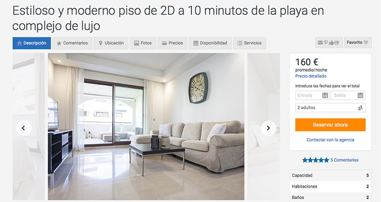 Homeaway anuncio piso en marbella