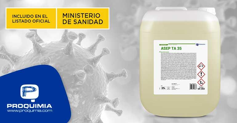 Desinfectante de superficies con eficacia demostrada contra el coronavirus
